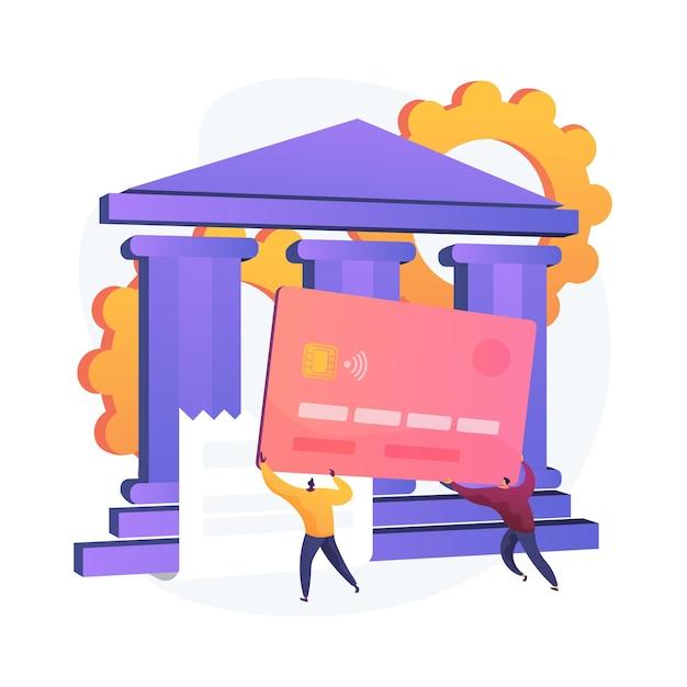 Zahlungskarte. elektronischer geldtransfer. bunte zeichentrickfiguren, die plastikkreditkarte halten. bankgeschäfte, kredite, einlagen. kontaktloses zahlungssystem. vektor isolierte konzeptmetapherillustration Kostenlosen Vektoren