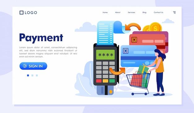 Zahlungslandungsseiten-websiteillustration Premium Vektoren