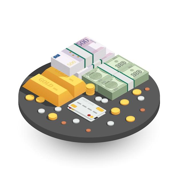 Zahlungsmethoden runde isometrische zusammensetzung Kostenlosen Vektoren