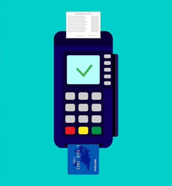 Zahlungsterminal mit kreditkarte und scheck. Premium Vektoren