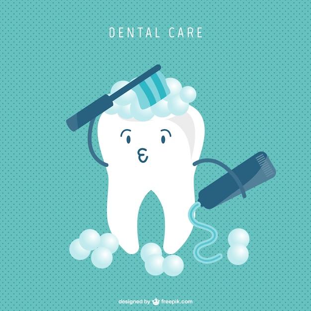 Zahn-cartoon reinigungskonzept Kostenlosen Vektoren