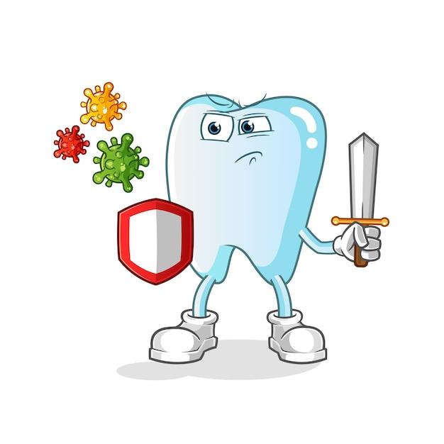 Zahn gegen virenkarikaturillustration Premium Vektoren