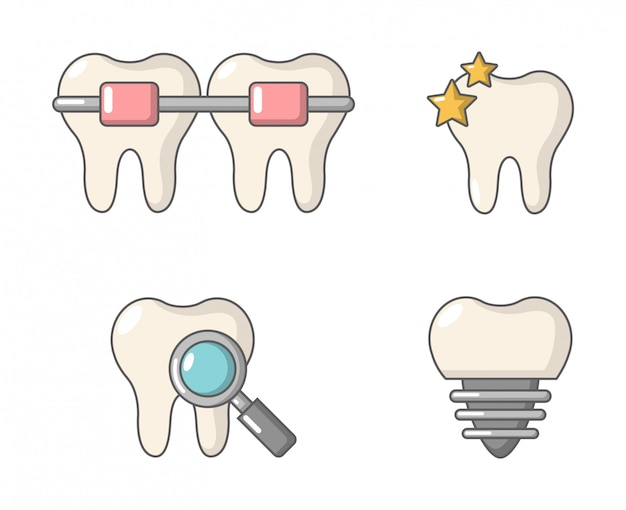 Zahn-icon-set. karikatursatz der zahnvektor-ikonensammlung lokalisiert Premium Vektoren
