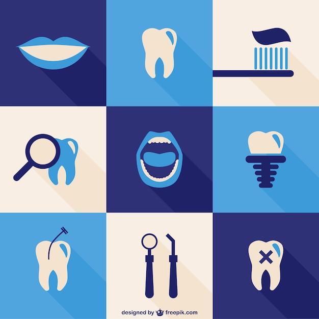Zahn symbole gesetzt Kostenlosen Vektoren