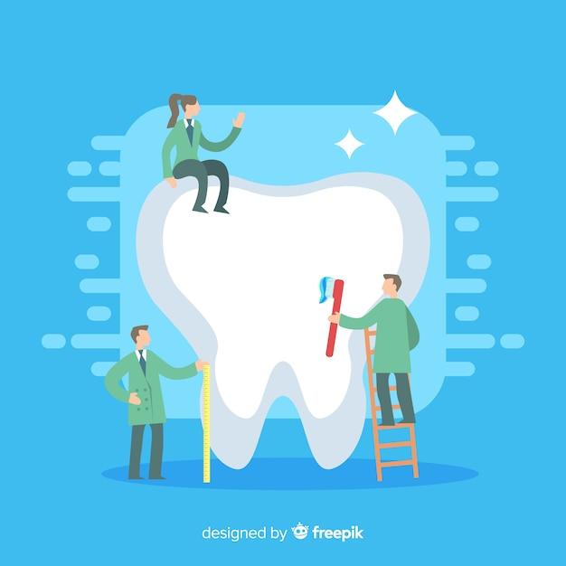Zahnärzte, die einen riesigen zahn säubern Kostenlosen Vektoren