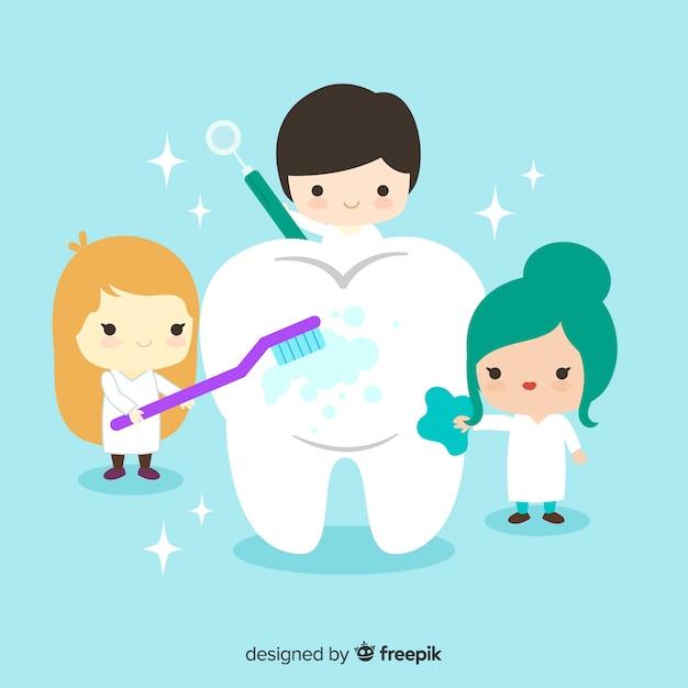 Zahnärzte, die um einem zahnhintergrund sich kümmern Kostenlosen Vektoren