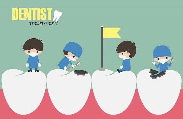 Zahnärzte überprüfen in ihren zähnen und nach zahnkaries suchend Premium Vektoren