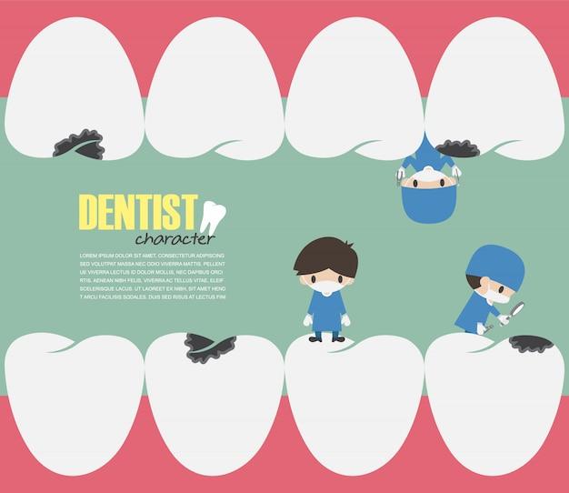Zahnärzte überprüfen in ihren zähnen Premium Vektoren