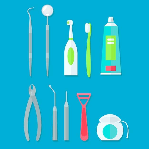 Zahnärztliche werkzeuge gesetzt Kostenlosen Vektoren