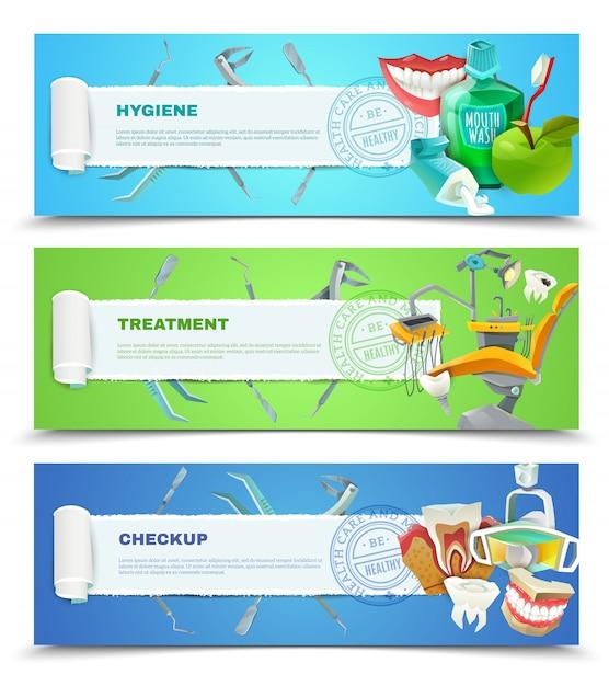 Zahnarzt 3 flache horizontale banner set Kostenlosen Vektoren