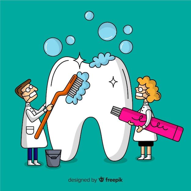 zahnarzt der großen zahnkarikaturhintergrund säubert