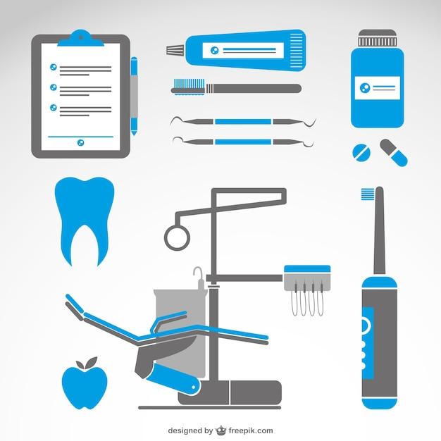Zahnarzt medizinische symbole satz Kostenlosen Vektoren