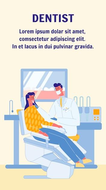 Zahnarzt, stomatologist-vektor-flieger mit text Premium Vektoren