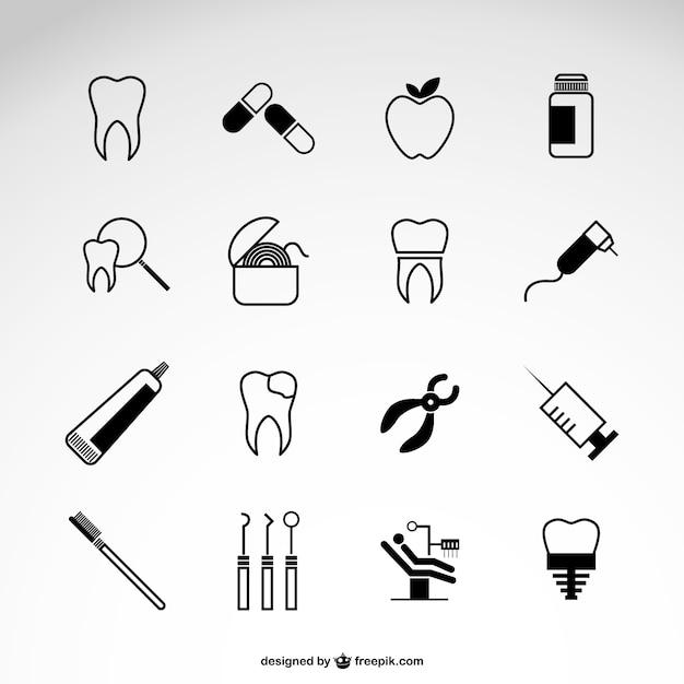 Zahnarzt vektor-icons gesetzt Kostenlosen Vektoren