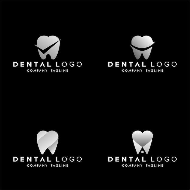 Zahnarzt vorgemachtes logo-monogramm einfaches zähne-set Premium Vektoren