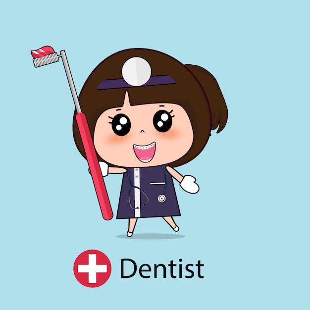 Zahnarzt zeichentrickfigur Premium Vektoren