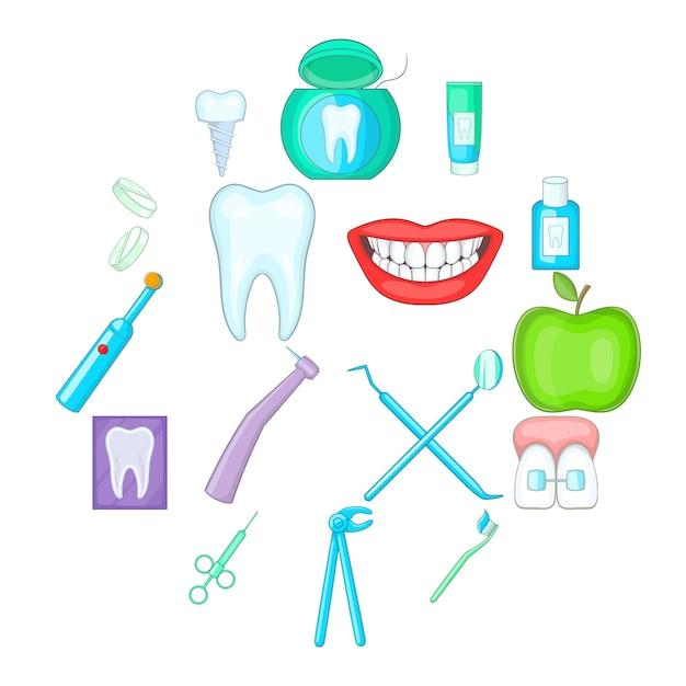 Zahnarztikonensatz, karikaturart Premium Vektoren