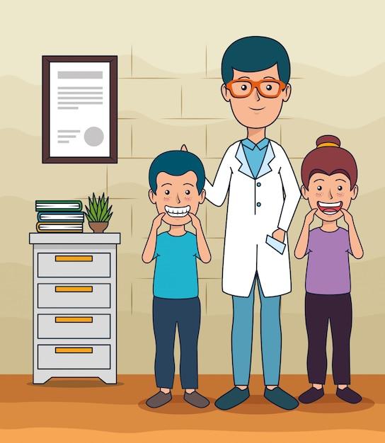 Zahnarztmann und patientenkinder zur zahnpflege Kostenlosen Vektoren
