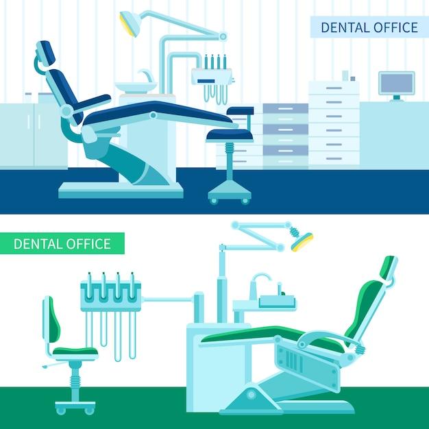 Zahnarztraum banner set Kostenlosen Vektoren