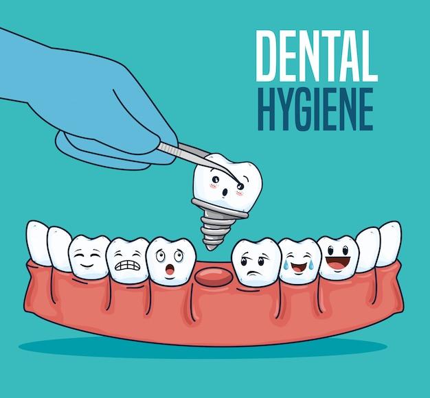 Zahnbehandlung mit zahnersatz und extraktor Kostenlosen Vektoren