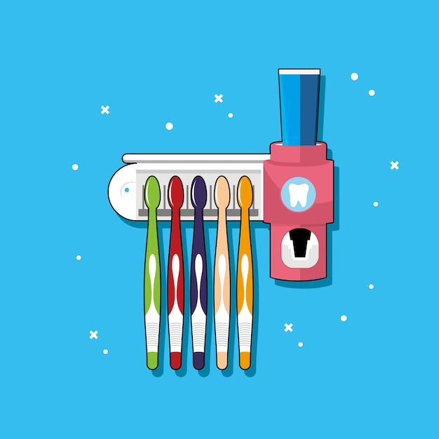 Zahnbürstenhalter mit vielen farben. Premium Vektoren
