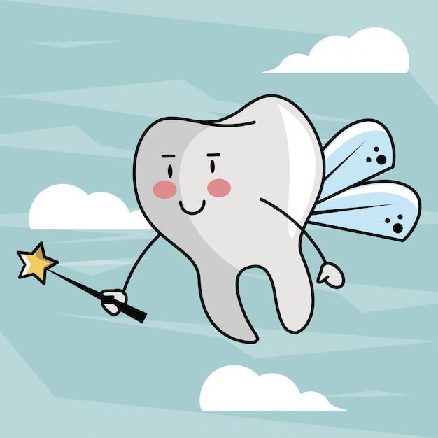 Zahnfee cartoon Premium Vektoren