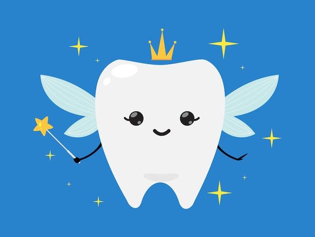 Zahnfee, die krone trägt und einen sternzauberstab hält Premium Vektoren