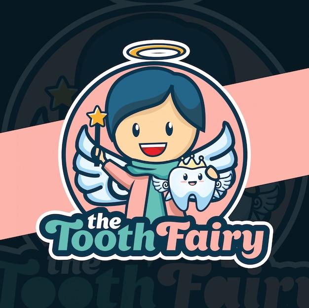Zahnfee maskottchen-logo-design Premium Vektoren