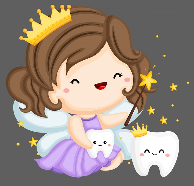 Zahnfee und magische zähne Premium Vektoren