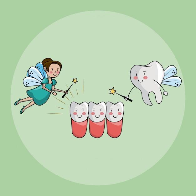 Zahnfee und zahnpflege Premium Vektoren