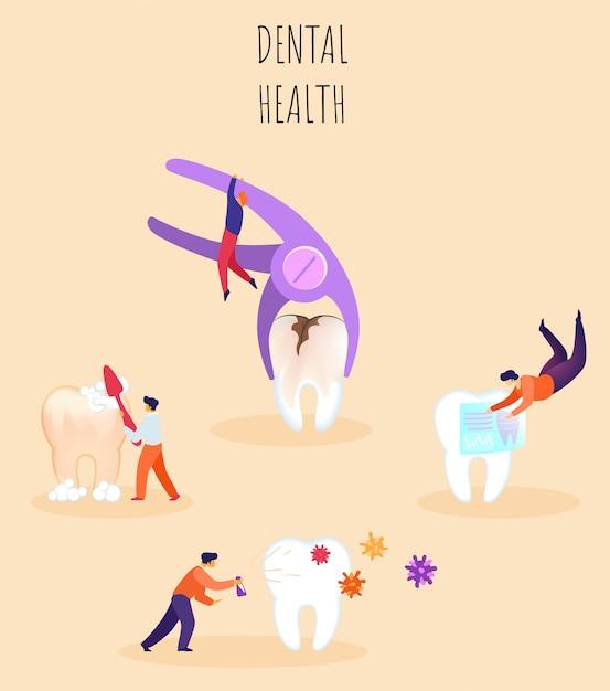 Zahngesundheit illustration, schriftzug. Premium Vektoren