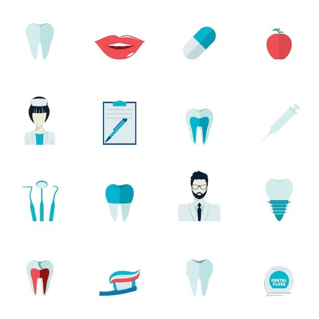 Zahngesundheit und karies zähne gesundheitswesen instrumente dent schutz flache symbole gesetzt isoliert vektor-illustration Kostenlosen Vektoren