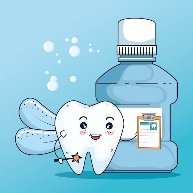 Zahngesundheitsbehandlung mit diagnose und mundwasser Kostenlosen Vektoren