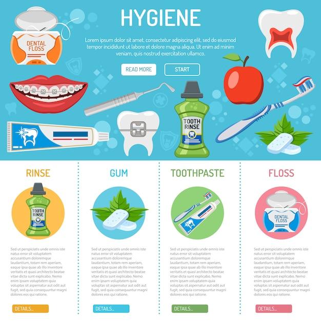 Zahnhygiene und infografiken Premium Vektoren