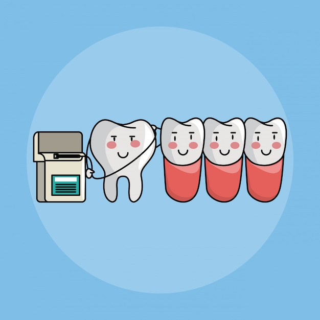 Zahnpflege cartoons Premium Vektoren