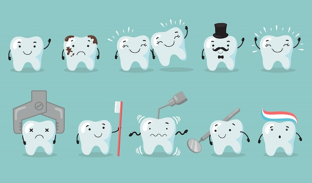 Zahnpflege eingestellt Kostenlosen Vektoren