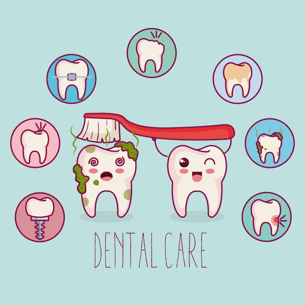 Zahnpflege kawaii comi charakter Kostenlosen Vektoren