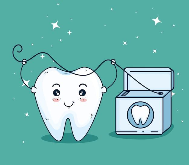 Zahnpflege mit zahnseide Kostenlosen Vektoren
