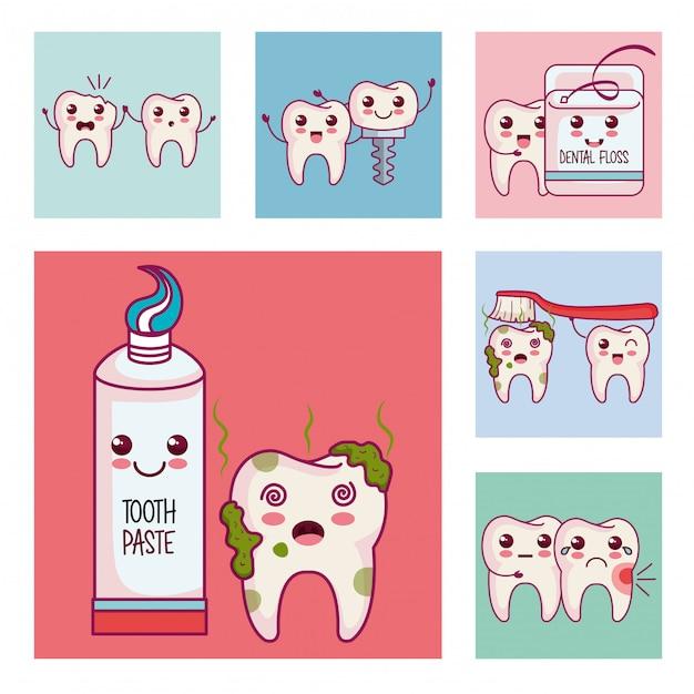 Zahnpflege stellen icons Kostenlosen Vektoren