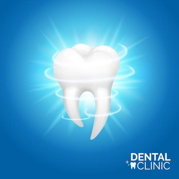 Zahnpflege und zahnaufhellung banner. mundhygiene-illustrationssatz, realistischer stil. zahnmedizin oder stomatologie Premium Vektoren