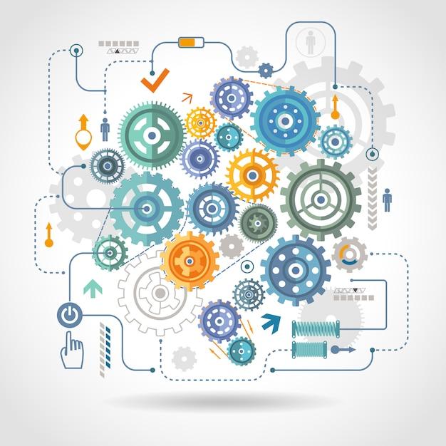 Zahnradgetriebe-schema-plakat Kostenlosen Vektoren