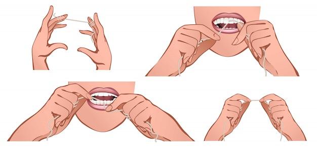 Zahnseide-banner-set, cartoon-stil Premium Vektoren