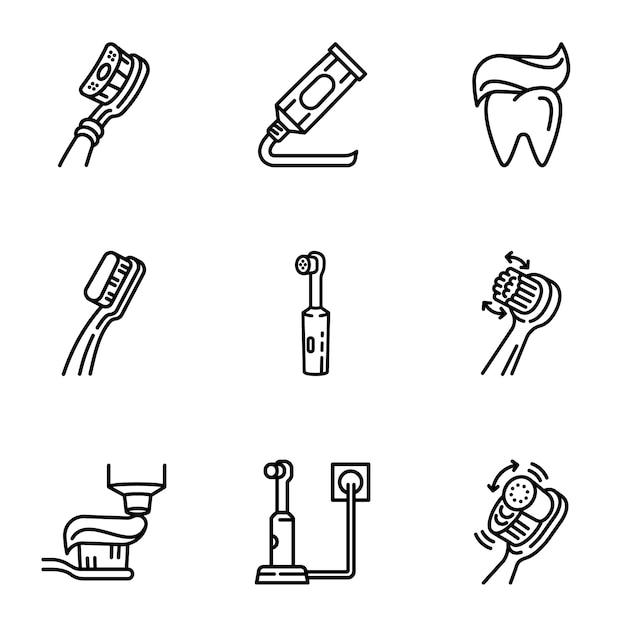 Zahnsymbol pflege set, umriss-stil Premium Vektoren