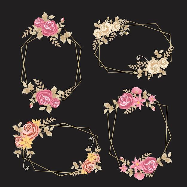 Zarte blüten mit blättern auf goldenen rahmen Kostenlosen Vektoren