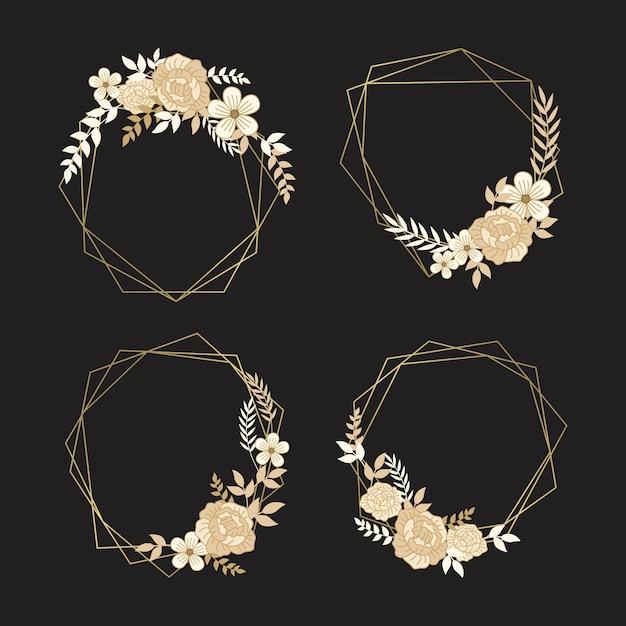 Zarte goldene blüten mit blättern auf polygonalen rahmen Kostenlosen Vektoren