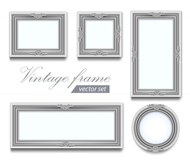 Zarte hellgraue runde quadratische holz und rechteckige fotorahmen. set vintage rahmen Premium Vektoren