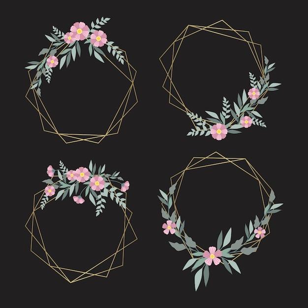 Zarte rosa blüten mit blättern auf goldenen rahmen Kostenlosen Vektoren