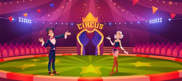 Zauberer mit zauberstab und frau auf zirkusarena Kostenlosen Vektoren