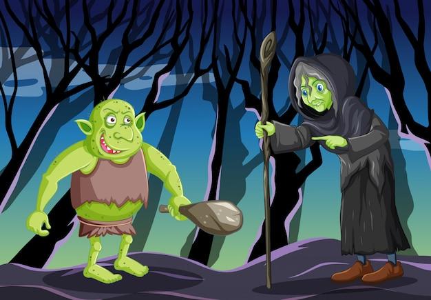 Zauberer oder hexe mit kobold oder troll auf dunklem waldhintergrund Kostenlosen Vektoren