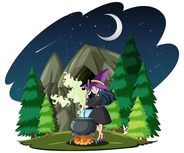 Zauberer oder hexe mit zaubertopf auf dunklem wald lokalisiert auf weiß Kostenlosen Vektoren